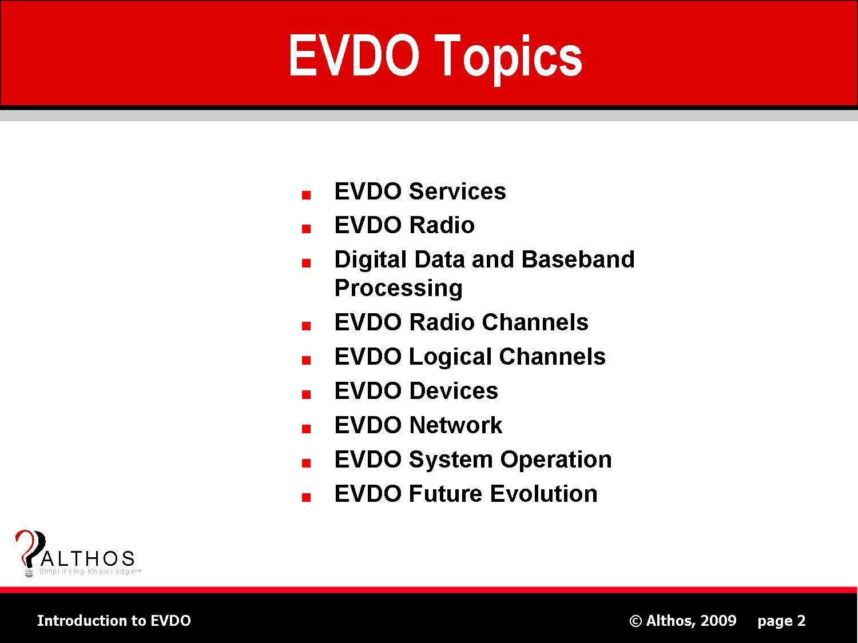 EVDO Topics