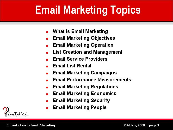 Email Marketing Topics Slide Image