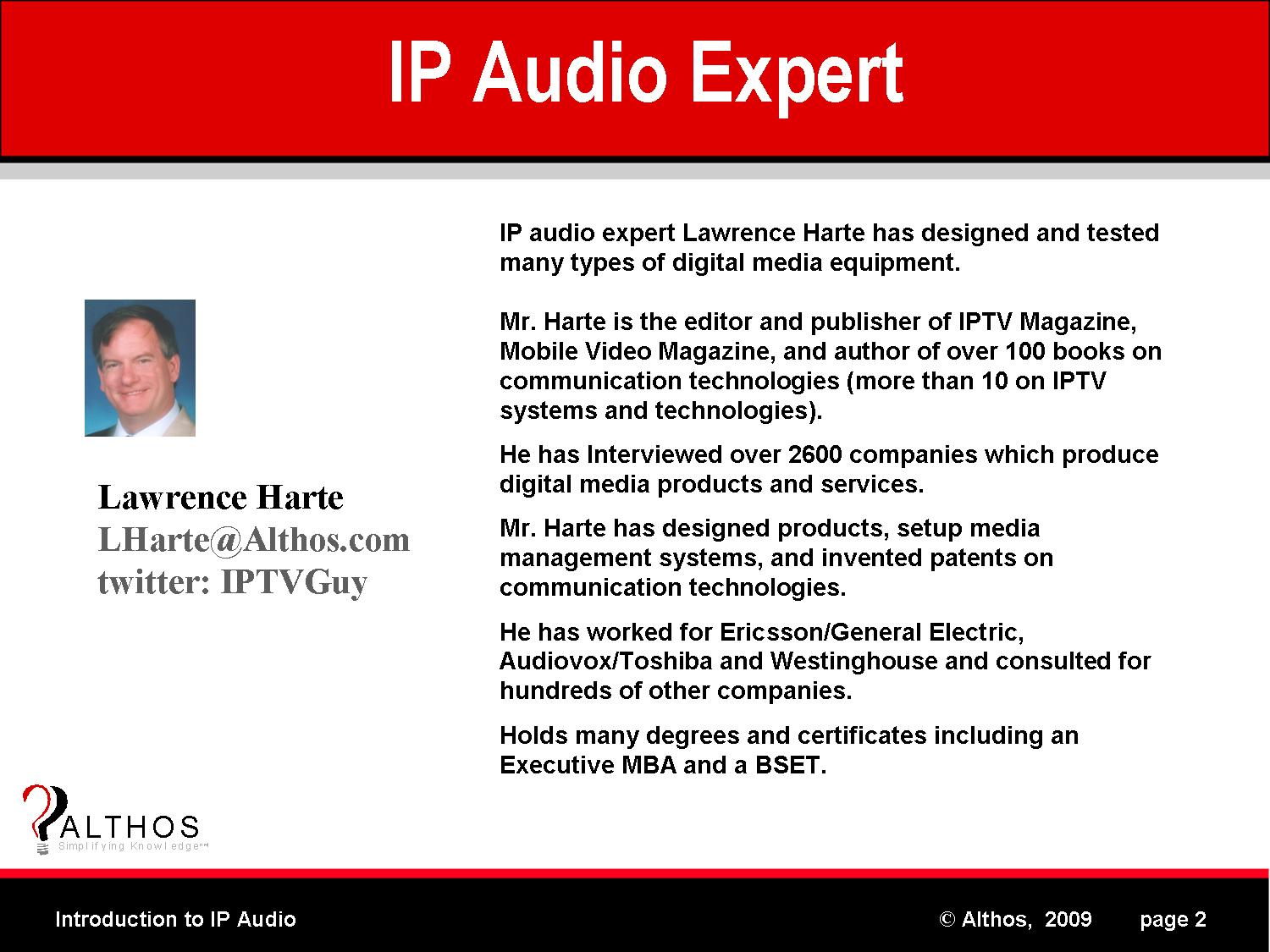 IP Audio Expert Lawrence Harte image