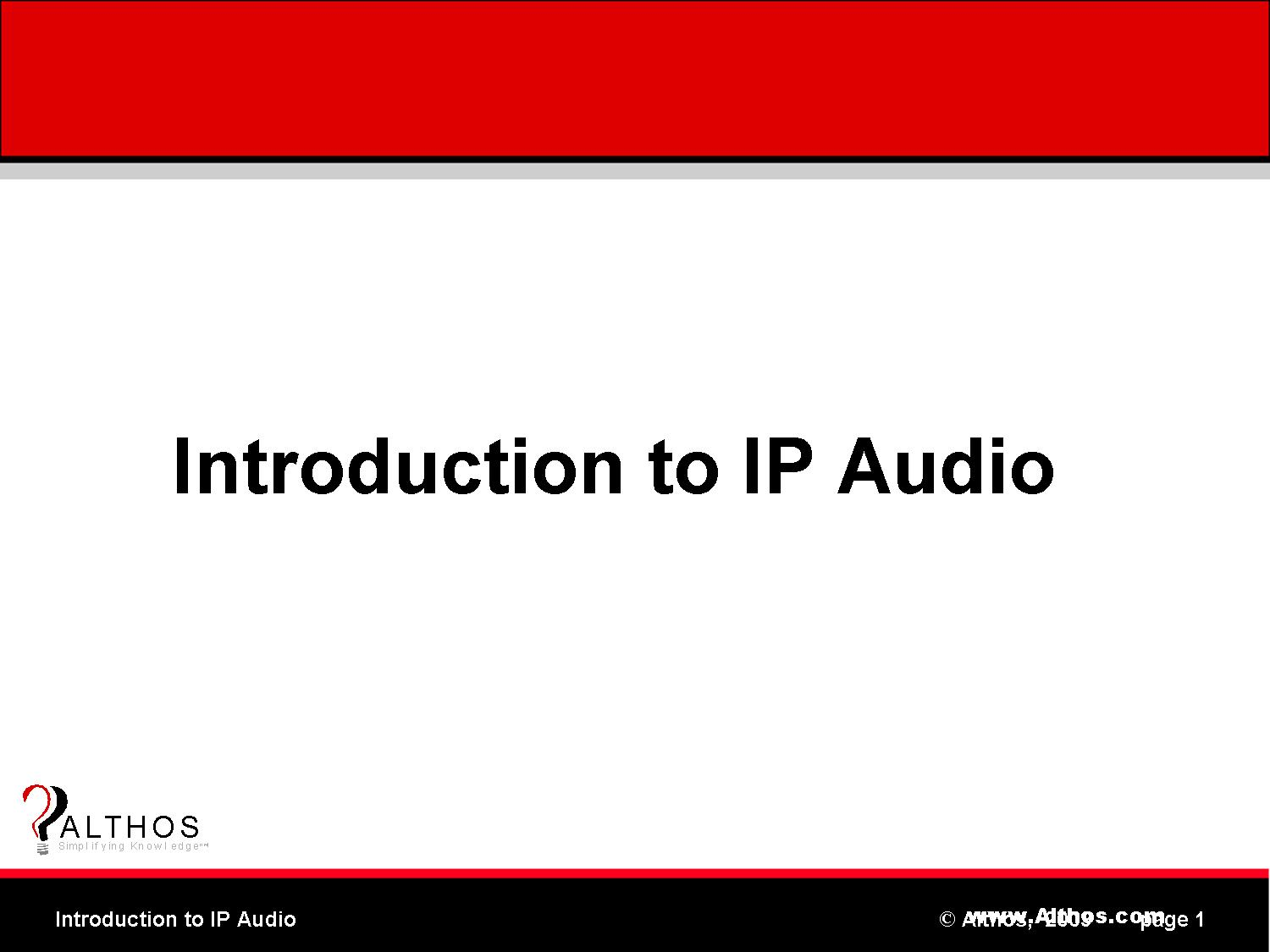 IP Audio Tutorial Slide Image