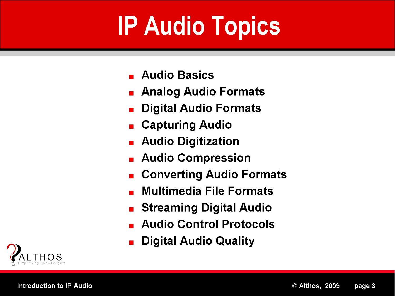 IP Audio Topics image