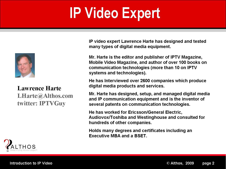 IP Video Tutorial Expert Lawrence Harte Slide