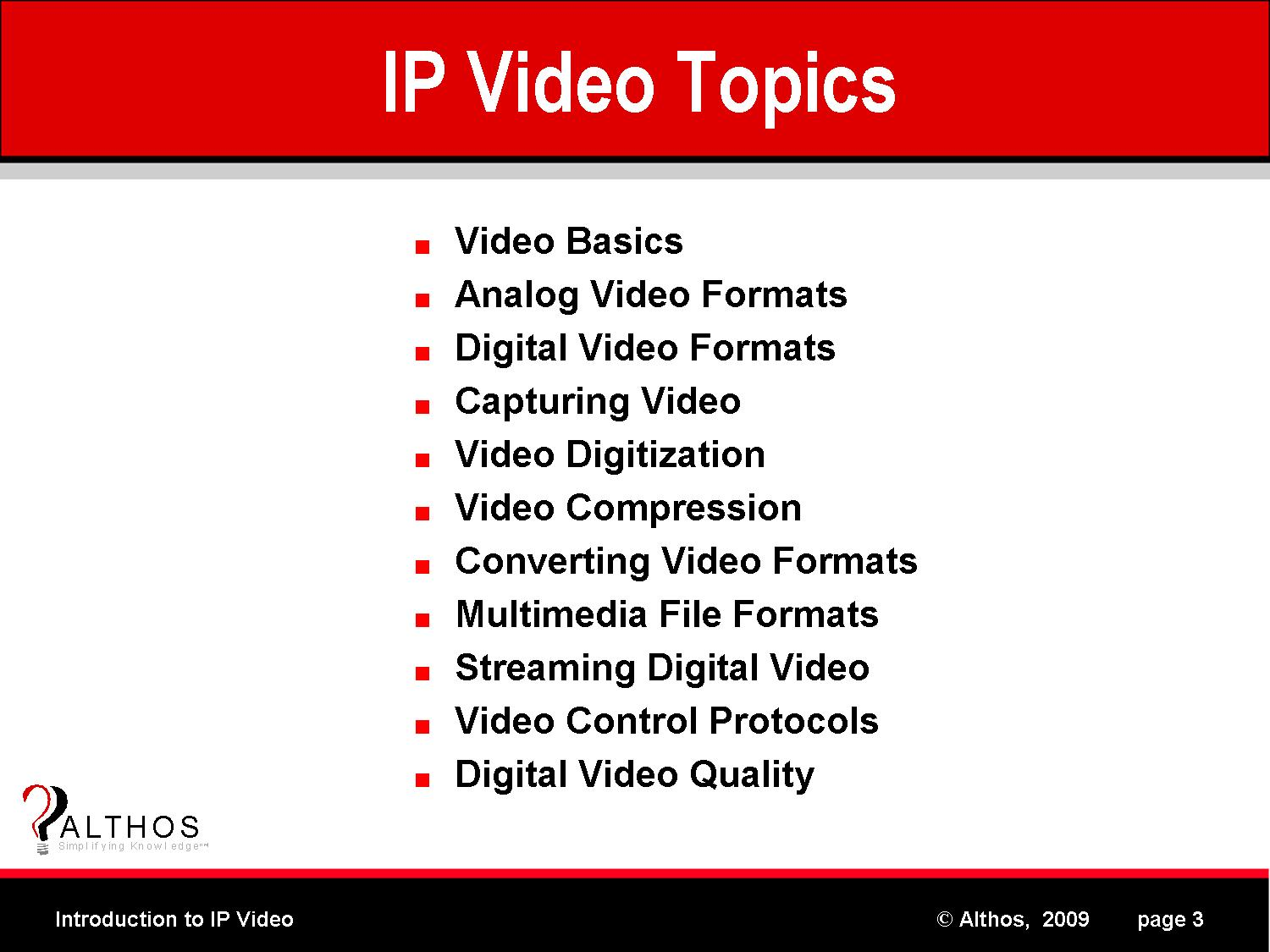 IP Video Tutorial Topics Slide