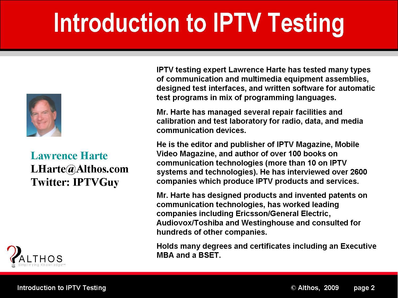 IPTV Testing Expert