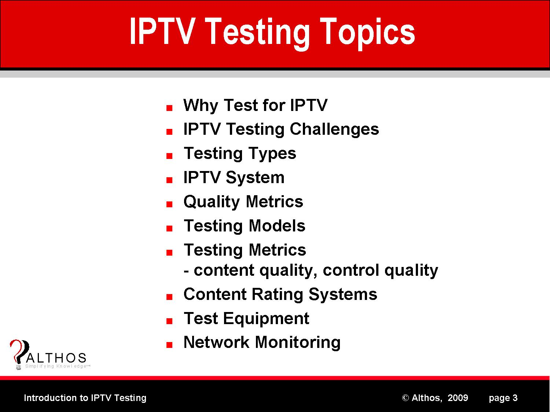 IPTV Testing Topics