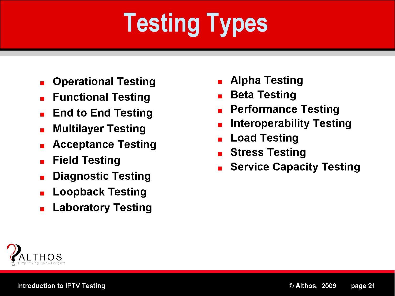 IPTV Testing Types