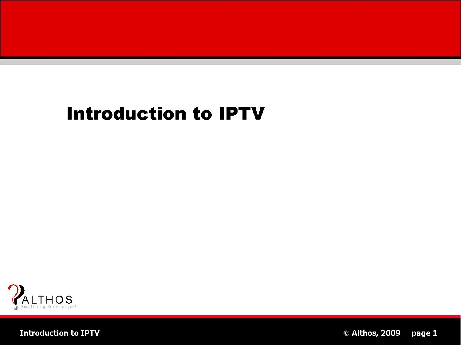 IPTV Tutorial Title Slide