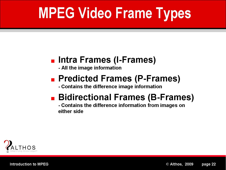MPEG Frame Types