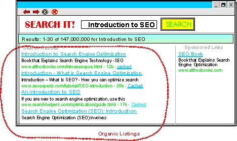 SEO Organic Listing Diagram