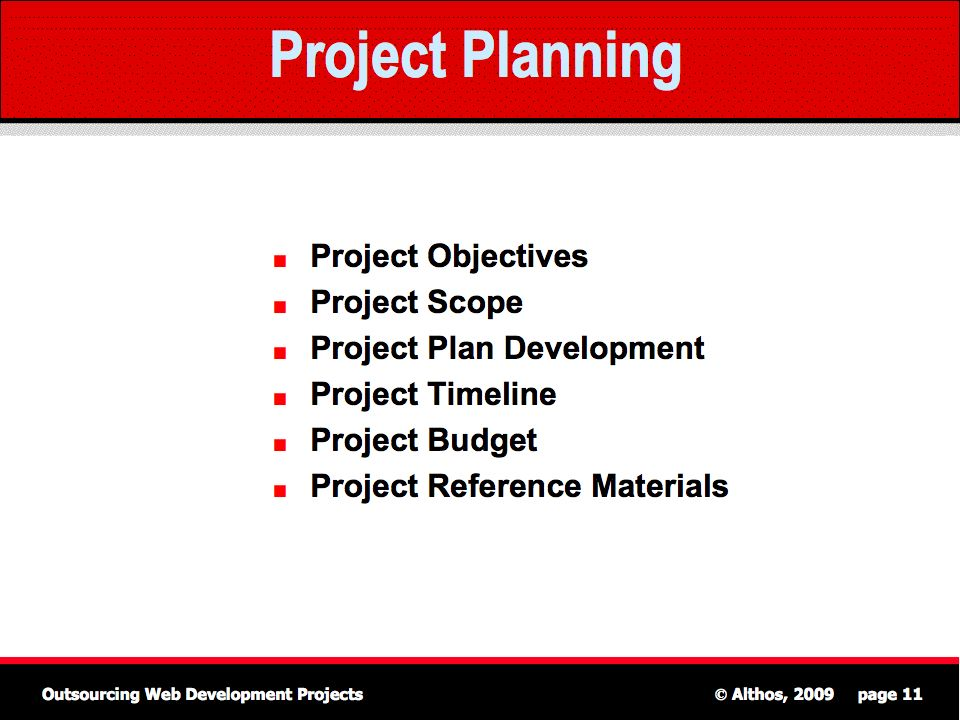 Outsourcing Tutorial  Project Planning