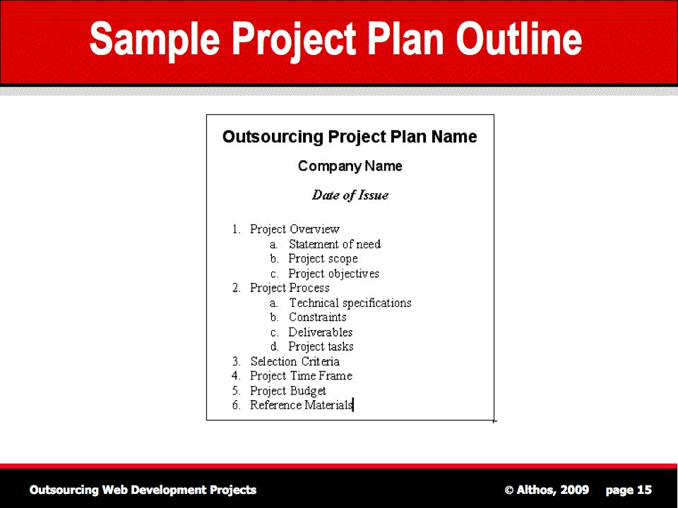 outsourcing tutorial sample project plan outline - Sample Project Plan