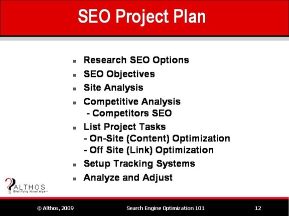 Search Engine Optimization Tutorial – Project Plan Sample