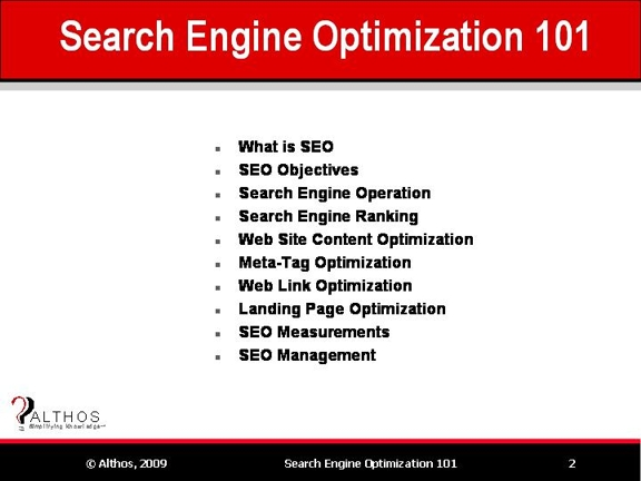Search Engine Optimization Tutorial | SEO Topics
