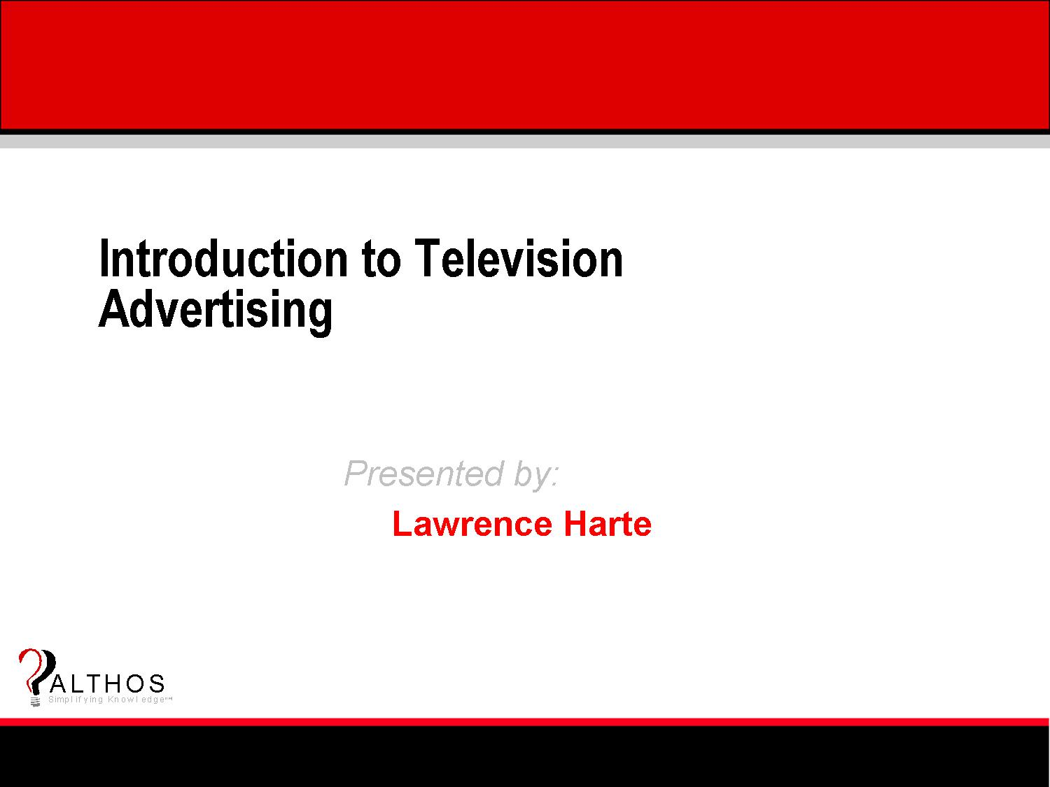 TV Advertising Tutorial Slide Title